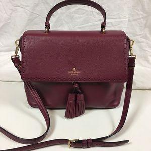 Kate Spade maroon leather cross-body purse